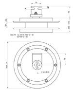 Maßskizze Trommel mit Doppelschlauch und kleinem Anbauwinkel